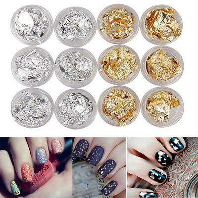 12 pcs Nail Art Gold Silver Flake Gitter Foil Acrylic UV Gel Sticker 3D DIY KIT