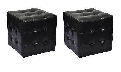 # New 2pcs Leather Ottoman Black Cubed Bedside Foot Stool Seat Blanket Box Chair