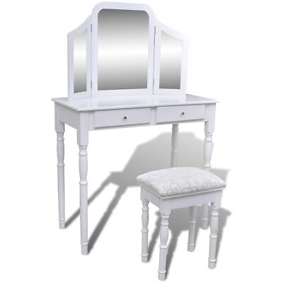 #Dressing Table Stool Drawer Jewellery Cabinet Vintage Organiser 3 Mirror White