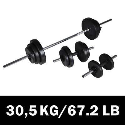 # New 3pc Dumbbell Barbell Weight Set 30.5kg Home Gym Fitness Exercise Adjustabl