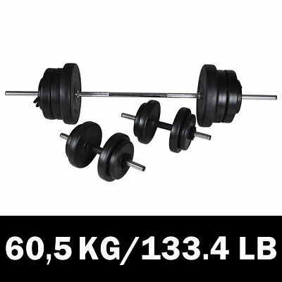 # New 3pc Dumbbell Barbell Weight Set 60.5kg Home Gym Fitness Exercise Adjustabl
