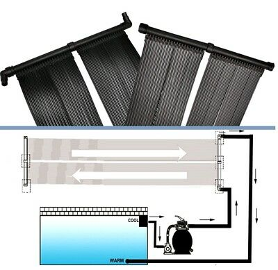 # Set of 2 Solar Panel Swimming Pool Fountain Water Heating Kit Pump Heat System