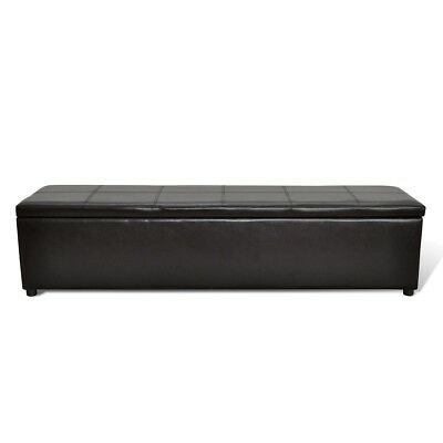 # New Leather Brown Storage Ottoman Bench Seat Chair Stool Bed Box Organiser 178