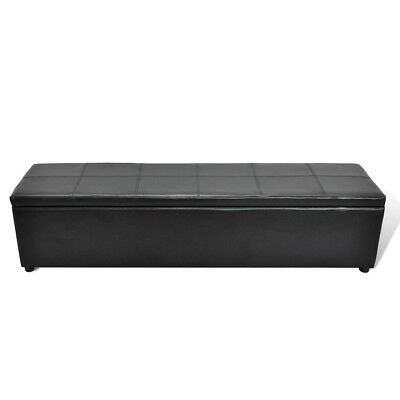 # New Leather Black Storage Ottoman Bench Seat Chair Stool Bed Box Organiser 178