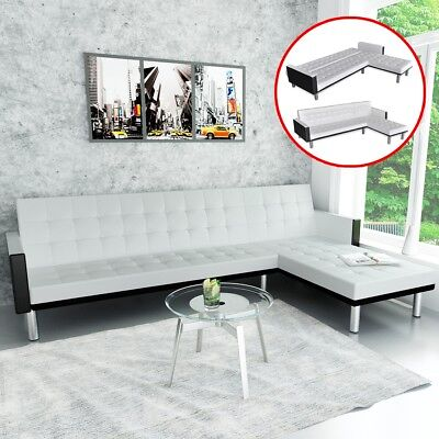 # Modern White Leather Corner Sofa Bed 3 Seater Lounge Suite Couch Chaise Reclin