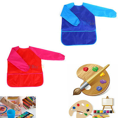 Child Kids Waterproof Long Sleeve Apron Drawing Painting Cooking Craft Art Smock