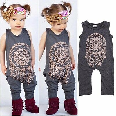 Boho Baby Kids Toddler Girl Romper Jumpsuit Bodysuit Cotton Clothes Outfit 000-5