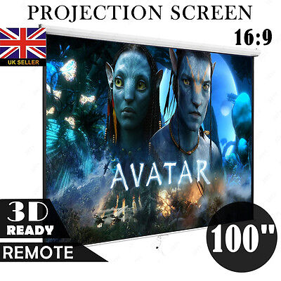 """100"""" 16:9 HD Projection Screen Matte White Manual Projector Video Home Theater"""
