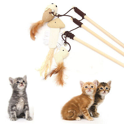 Funny Kitten Play Length Interactive Toy Cat Teaser Wand Pet Mouse Ball Feather