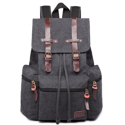 Black Boys School Bag Backpack Men Tourist Camping Canvas Real leather Rucksack