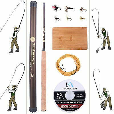 11FT Tenkara Rod Combo Carbon Fly Rod Fishing Pole & Line & Tenkara Fly & Box