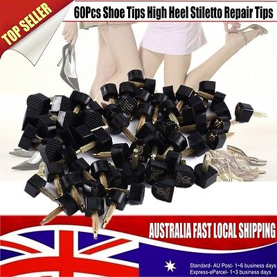 BEST 60Pcs Shoe Tips Mixed Black PU High Heel Stiletto Repair Tips Cap Plates