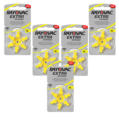 30 x Rayovac 10 Hearing Aid Batteries Yellow Tab 1.45v PR70 Zinc Air UK