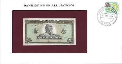 2 Consecutive Banknotes of All Nations, Haiti 1 Gourde, 1987, P245, Uncirculated