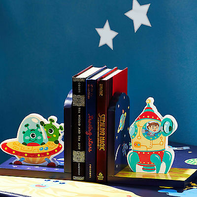 Fantasy Fields Childrens Outer Space themed Set of 2 Kids Wooden Bookends