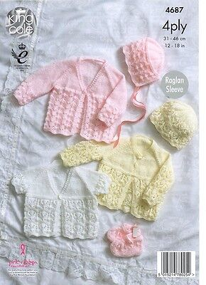 KINGCOLE 4687 BABY 4ply KNITTING PATTERN  14-20 IN -not the finished garments