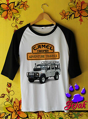 Camel Trophy Landrover ADVENTURE TRAVELS T-Shirt Unisex Clothing Raglan