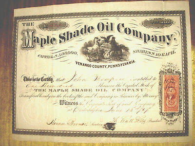 Stock Certificate - THE MAPLE SHADE OIL COMPANY 1867