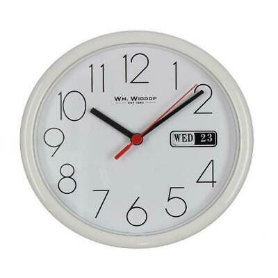 White Round Wall Clock with Day and Date Display 21cm