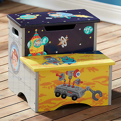 Childrens Outer Space themed Kids Wooden Step Up Stool with Storage