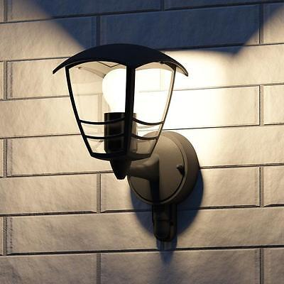Philips Creek Black Outdoor Up Lantern Wall Light with PIR 153883016