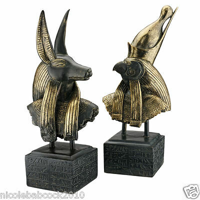 Set of 2: Ancient Egyptian God Anubis & Horus Hieroglyph SCULPTURAL MUSEUM BASE