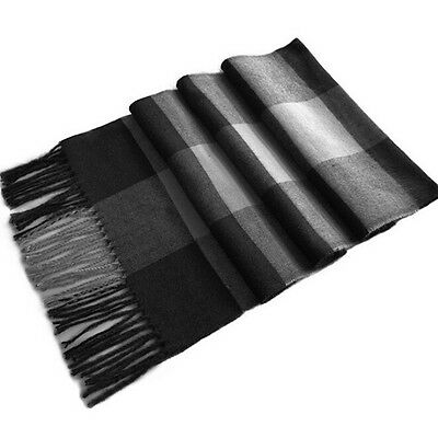 Chic Black & Gray Checked Pattern Fringe Decorated Men's Scarf YM