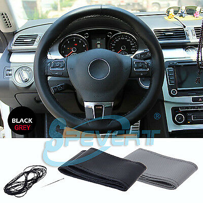 DIY Car Steering Wheel Cover PU Leather with Needle&Thread, Fits FORD BMW, etc.