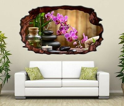 3d wandtattoo wellness orchidee steine feng shui yoga wandbild aufkleber 11h900 eur 18 99. Black Bedroom Furniture Sets. Home Design Ideas