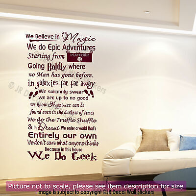 Harry Potter Quote We do Geek in this House Vinyl Wall Art Sticker Bedroom Decal
