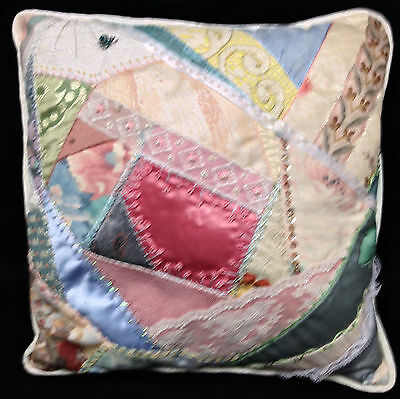 Vintage 1980s Crazy Quilt Pillow Hand Embroidered Beaded 12 In Sq White Back