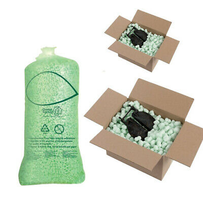 Loose Fill 15 Cubic Ft  Biodegradable Bags of FLOPAK green Void Fill Peanut x 3