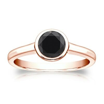 3 Ct Round Cut Black Solitaire Bezel Engagement Wedding Ring Real 14K Rose Gold