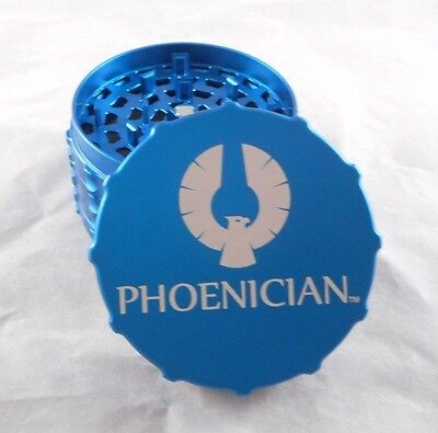 """Large 3.22"""" Blue Phoenician 4 Part Grinder with Rubber Bumpers"""