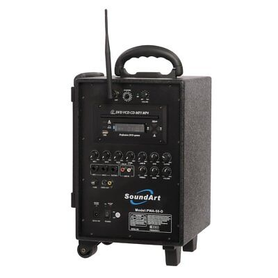 New SoundArt 50 Watt Rechargeable Wireless PA System with DVD Player