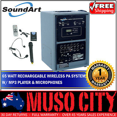 New SoundArt 65 Watt Rechargeable Wireless PA System with MP3 Player