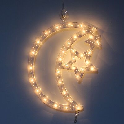New Light Up Double Sided Frame Moon & Stars Sculpture Window Decoration