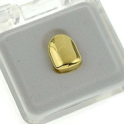 14K Yellow Gold Plated Single Cap Plain Tooth Grill Hip Hop Jewelry Grills