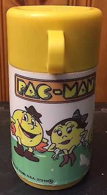 Vintage Aladdin Industries Pac-Man Plastic Thermos, Yellow, White, 1982