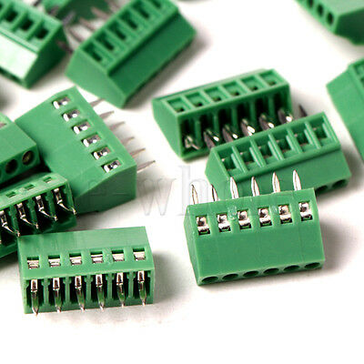 6-Pin 5PCS 2.54mm Pitch Panel PCB Mount Screw Terminal Block Connector WT