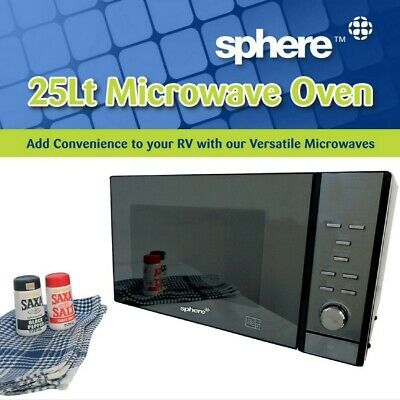 Sphere Caravan Microwave Oven 25L 900W Mirror Finish Fitted in Jayco Expanda, RV