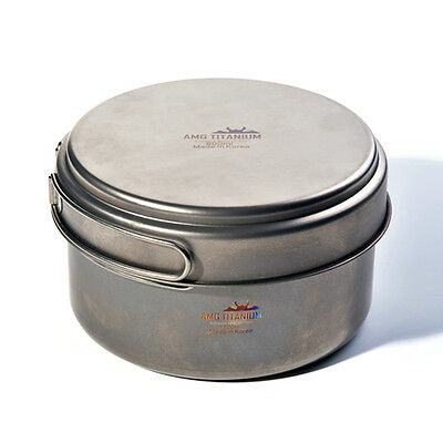 AMG Titanium Lightweight Uncoated Outdoor Camping Cookware Backpacking 1700ml