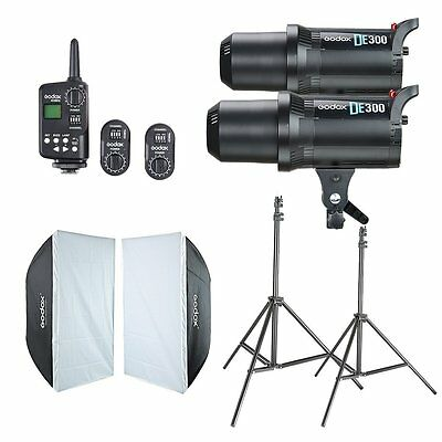 2Pcs Godox DE300 Studio Flash &60*90cm Softbox & FT-16 Trigger & Light Stand Kit