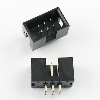 20Pcs 2.54mm Pitch 2x3 Pin 6 Pin Straight Male Shrouded Box Header IDC Connector