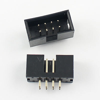 20Pcs 2.54mm Pitch 2x4 Pin 8 Pin Straight Male Shrouded Box Header IDC Connector