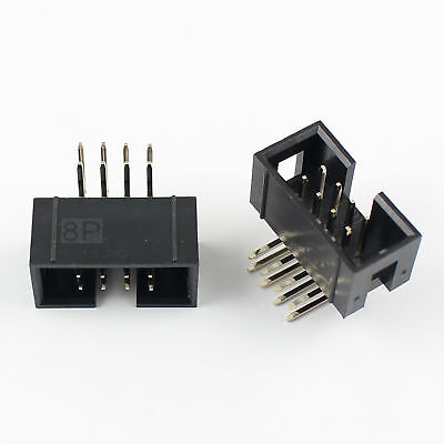 20Pcs 2.54mm 2x4 Pin 8 Pin Right Angle Male Shrouded IDC Box Header Connector
