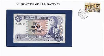 Banknotes of All Nations, Mauritius 5 Rupees, 1967, P30c, Uncirculated