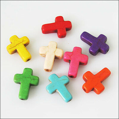 10 New Charms Stone Cross Spacer Beads Random Mixed 12x16mm