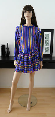Robe pull vintage violet/rayures multicolores volants taille 40/42 dress vestido