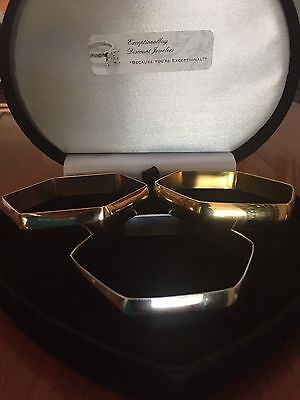 Womens 14K & Sts Rose Gold Yellow Gold Cuff Bangle Bracelet Set Of 3 Sz 7 Inch